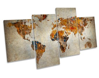 Map of the World Grunge Multi CANVAS WALL ART Print Picture