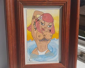 framed painting perfect gift skinny dipper.