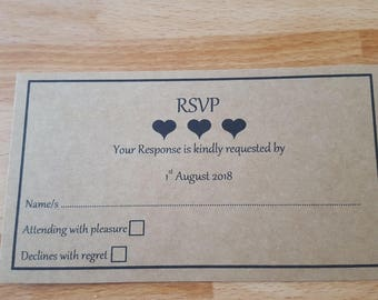RSVP wedding cards x 20