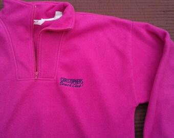 "Vintage 80's /90's Hot Pink Polar Fleece Pullover Sweater ""Christophers Beach Club!"" XL"