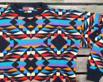 Vintage 80's / 90's Acrylic Knit Sweater Abstract Geometric Neon Bright Colours Made in USA large