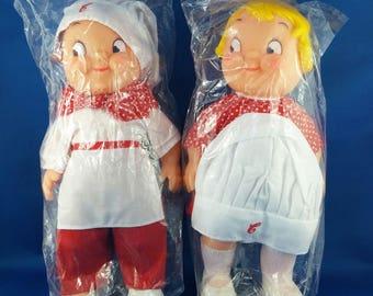 Vintage Campbell Soup Vinyl Kids Dolls Boy & Girl From 60'-70'