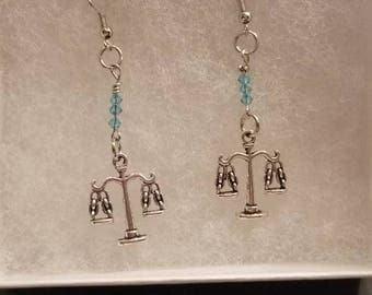 Scales of Justice earrings with Swarovski crystal beads.