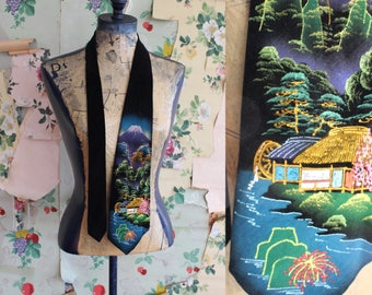 Vintage Black Velvet Hand Painted Tie.