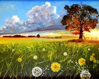 Sunset Meadow Limited Edition A3 PRINT Landscape Clouds Trees Dandelions Art by Generoso Napoliello