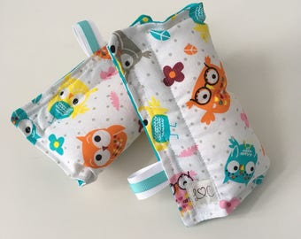 Turquoise owls strap covers