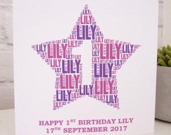 Personalised 1st Birthday Card (Girls), Personalised Card, Personalised Word Art Card, Special Card, Personalised Birthday Card