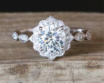 Floral Halo Diamonds Ring Vintage Moissanite Engagement Ring 6.5mm Round Cut Forever Classic Moissanite Ring Stackable 14K White Gold Ring