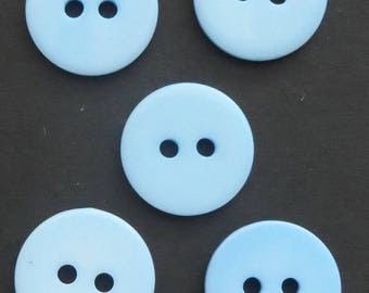 Buttons - Pale Blue - Plastic - 15mm - Two Hole Button - Pack of 5 - Reference Code 3
