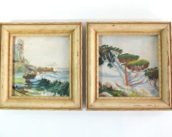 Mid Century Modern Small Signed California Plein-Air Paintings, Set of 2