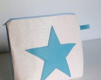 pochette petit sac pailleté blanc et turquoise