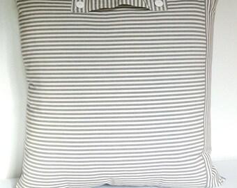 grey and beige striped cushion canvas 60 x 60