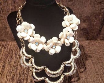 Vintage gold and cream flowers and beads necklace statement piece, free shipping