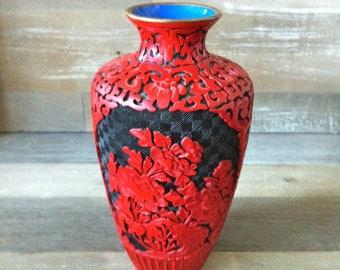 Antique Red & Black Cinnabar Vase/Asian vase/Chinese Vase/Antique vase/Asian art/Carved Flowers/Red and Black vase/Collectable Asian Art