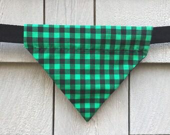 Dog Bandana - Scarf - Christmas Green Plaid - Slides through the Collar - Pet Scarf - Dog Gift