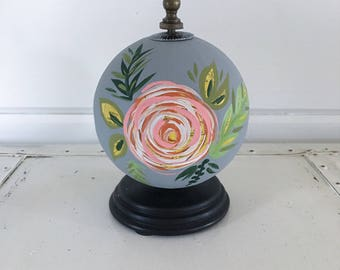 Hand Painted Globe with Floral Design // World Globe Art  // Globe Art // Travel Globe Art // Map Art // Decorative Globe Art