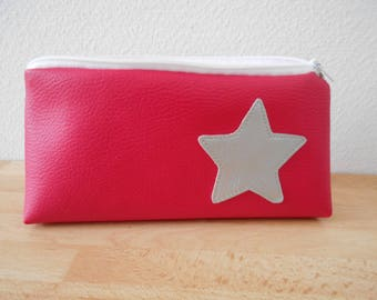 Kit faux fuchsia faux leather silver inner cotton printed star.