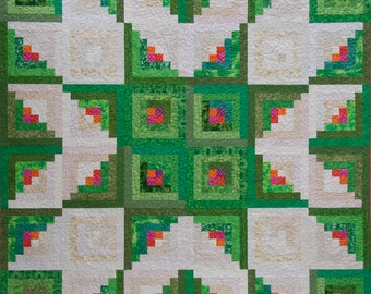 Log Cabin Quilt Pattern - Star Quilt Pattern - PDF Quilt Pattern - Quilt Patterns - Quilt Pattern PDF - Log Cabin Quilt - Queen Sized Quilts