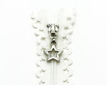 "Star Lace Zipper - 10"" Zippers - White Zippers - YKK Zipper - Sewing Notions - Purse Notions - Zippers for Bags - Lace Zippers - Zipper"