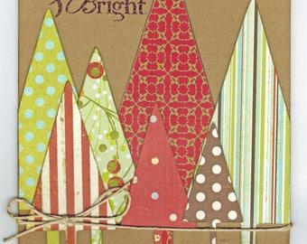 Merry & Bright Card//Christmas Card//Handmade Card