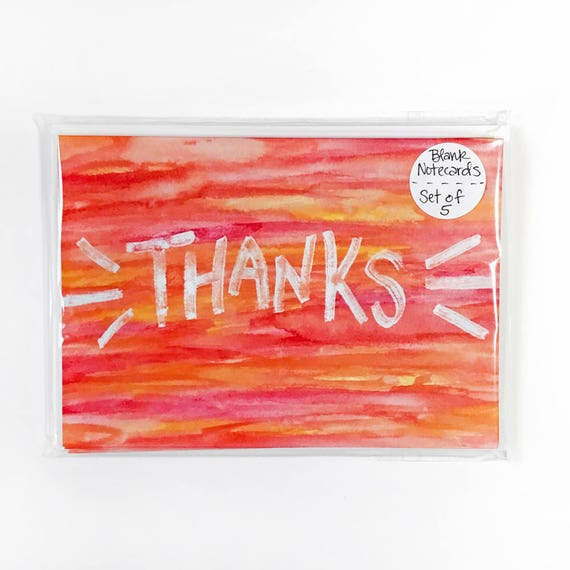 """THANKS"" Watercolor Note Card Set of 5 - Sustainably Sourced Paper!"
