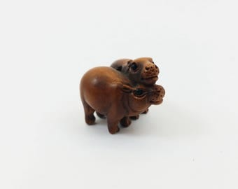 Vintage Ojime Carved Boxwood Hippos Pair - Hand Carved Japanese Style Ojime Beads -