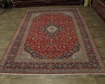Nice Traditional S Antique Handmade Kashan Persian Rug Oriental Area Carpet 9X13