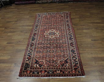 Nice Wide Runner Semi Antique Hossainabad Persian Rug Oriental Area Carpet 5X11