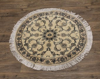 Excellent Round Handmade Nain Kashmar Persia Area Rug Oriental Carpet 3ʹ3X3ʹ3
