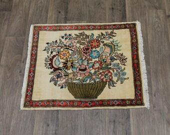 Amazing Floral Design Handmade Turkoman Persian Rug Oriental Area Carpet 2ʹ6X3