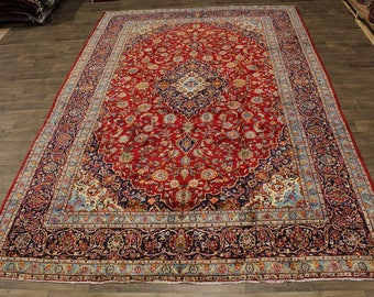 Palace Size Traditional Handmade Kashan Persian Area Rug Oriental Carpet 10X15