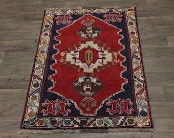 Amazing Antique Shiraz Kashkoli Persian Wool Rug Oriental Area Carpet 3'7X5'5