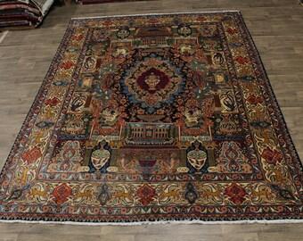 Emblematic Rare Pictorial Signed Kashmar Persian Rug Oriental Area Carpet 10X13