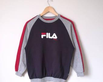 Vintage Fila Intimo Jumper Sweatshirt Embroidered Big Logo Fila Biella Italia Kids Size