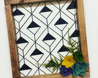 Hand-painted wooden sign, black and white pattern, geometric, felt succulents, modern decor