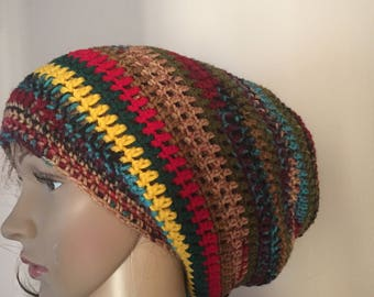 Colorful crochet Rasta hat, punches of deep red, olive green, green gold and more