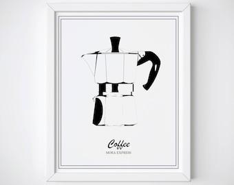 Moka Express Print • Coffee Print • Kettle Art  • Kitchen Wall Art • Scandi Art • Kitchen Print • Coffee Pot Print • Kitchen Printable