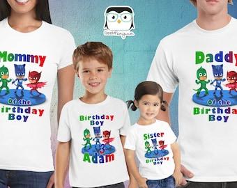 PJ Masks Birthday Shirt, PJ Masks Custom Shirt, Personalized PJ Masks Shirt, Pj Masks family shirts, Personalized Birthday t-shirt