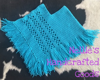 2T ~ 3T Turquoise Handmade Crocheted Poncho