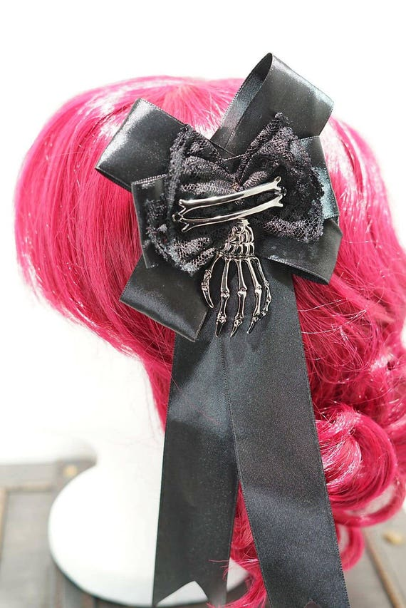 Skeleton bones left side hand black bronze bow hairpin brooch / black bow with silver skeleton hand hair clip and brooch