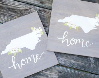 North Carolina State Sign, North Carolina Sign, Dogwood Flower Sign, Home Sign, North Carolina Home Sign, State Sign