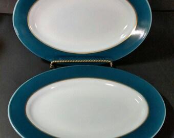Vintage pyrex teal green,  gold trim  serving platters. Set of 2