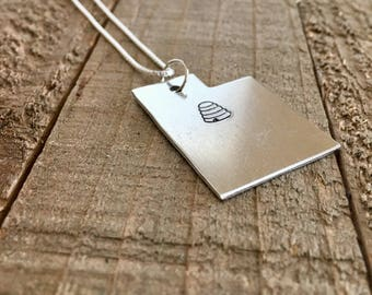 Utah necklace- beehive necklace-Utah jewelry-beehive state necklace-handstamped necklace-Christmas gift-gift