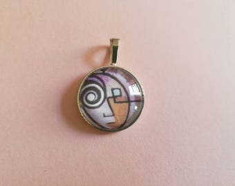 Abstract glass cabochon pendant with print