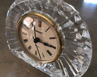 Staiger Lead Crystal Mantel or Desk Clock Vintage