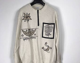 Vintage Jean Charles De Castelbajac Sweater Half Zipper fit L Large