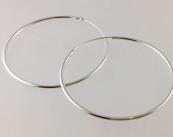 Large Sterling Silver hoops,  Hoop earrings, Large hoop earrings, large hoops, Sterling silver, Sterling hoops/ silver hoops.