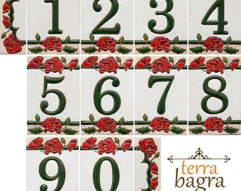 Handmade Ceramic House Number tiles ROSES - Large size