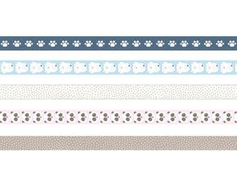 Set of 5 Masking Tape decorative Panda - adhesive - tape sticker Ribbon