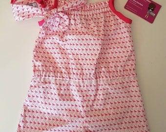 Age 2-3yrs flamingo playsuit and headband set
